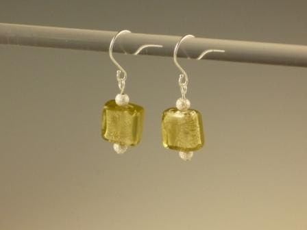 Murano style olive glass foil square and stardust bead earrings