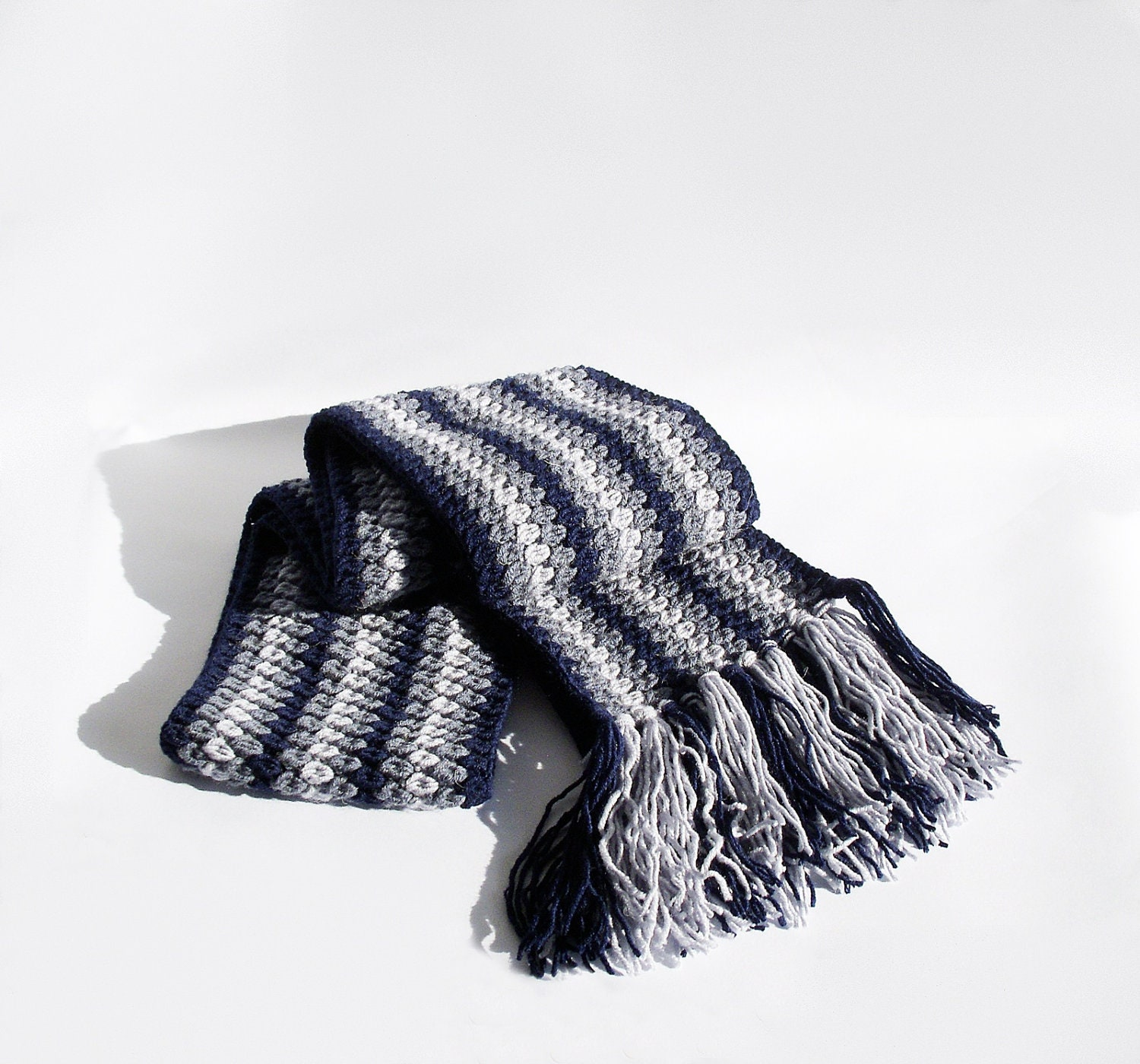 Men's scarf crocheted  - extra long  in dark blue, light blue and gray-blue, unisex scarf