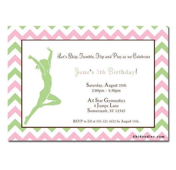 Girls Gymnastics Birthday Party Invitation Design by miiraclle