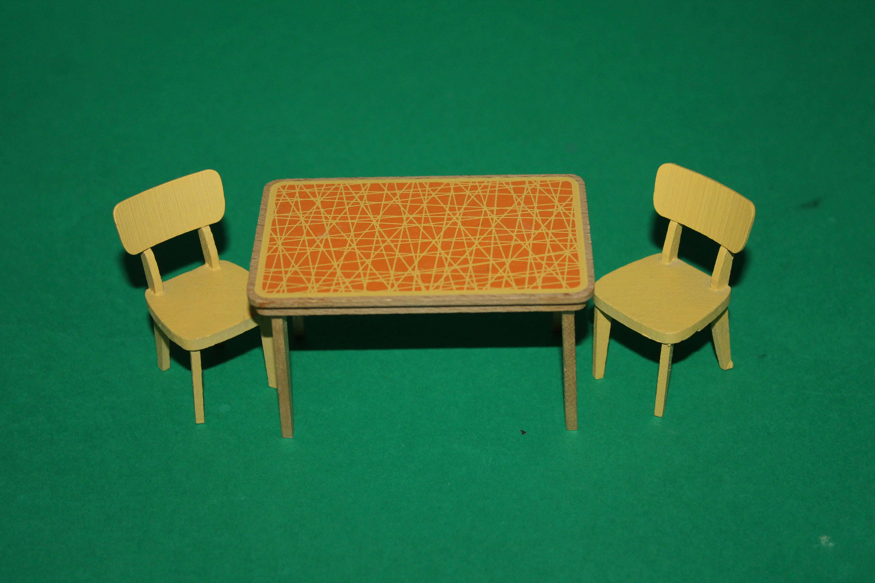 Vintage Dolls House Lundby Yellow  Orange Kitchen Table And Two Chairs