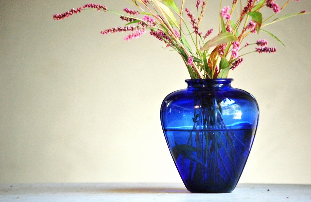 Vintage Cobalt Glass Vase - Mosser Glass - Art Deco Vase - TheZoeBird