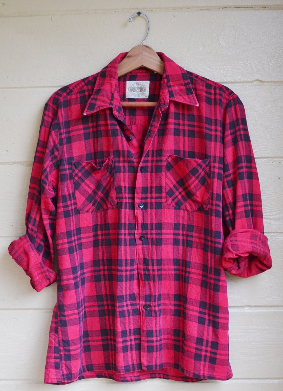 vintage plaid flannel shirt mens medium by founditinatlanta