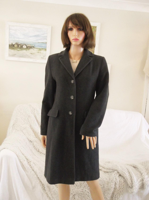 Ladies dark grey Winter Coat 70 wool coat Minimal grey coat Shaped charcoal grey wool coat UK size 10 wool coat