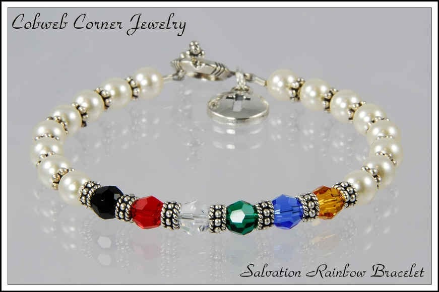 items similar to salvation rainbow bracelet with poem on etsy