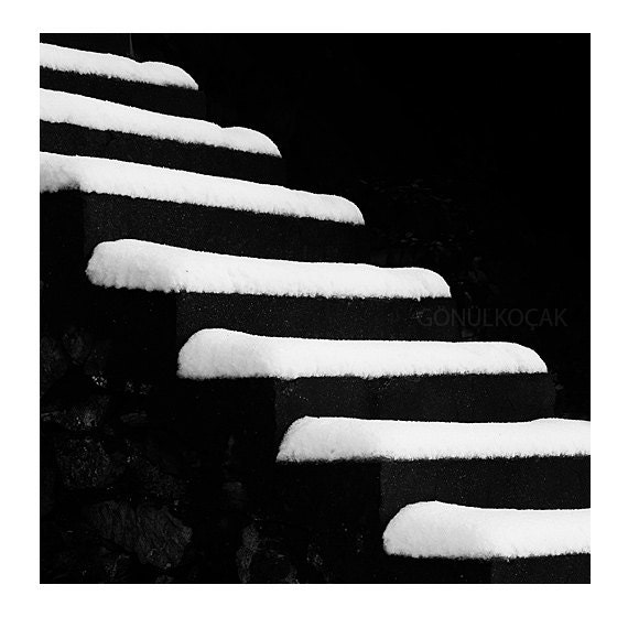 Black and White Photography - Stair wall decor, snow, Stairs Art Winter photography Conceptual  Nikon Life Photograph Snow   8''x8'' inch - gonulk