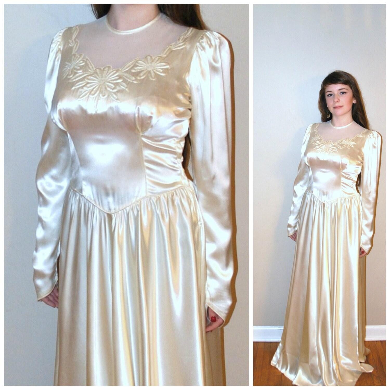 1930s Wedding Dresses: Vintage 40s Wedding Dress / 1930s 1940s Dress / By