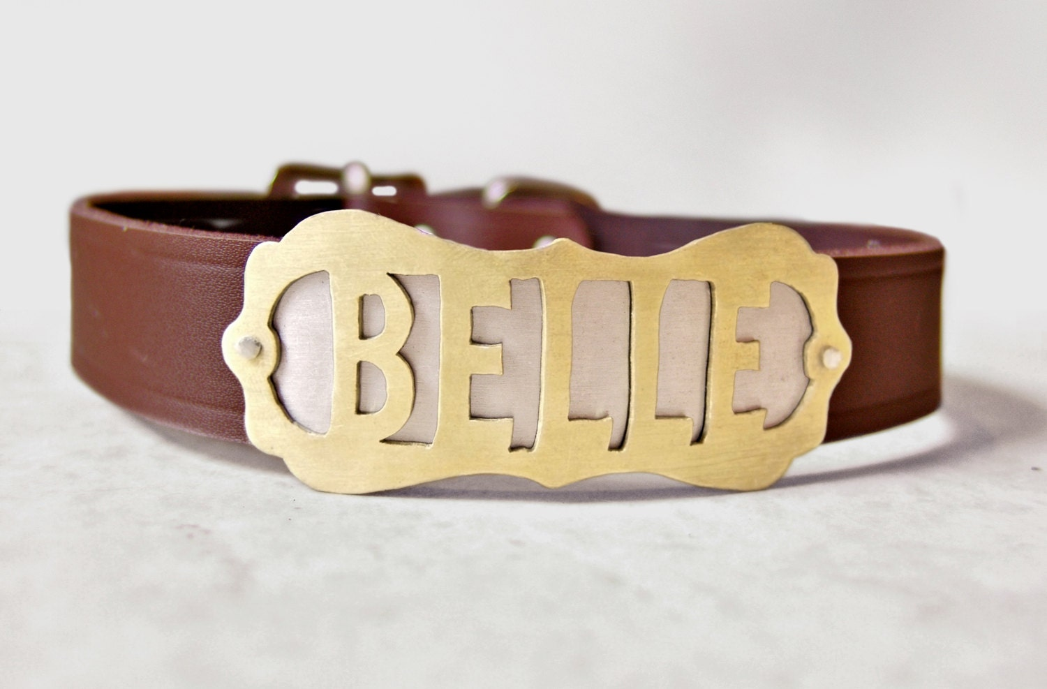 Items similar to Custom Name Plate on Leather Collar