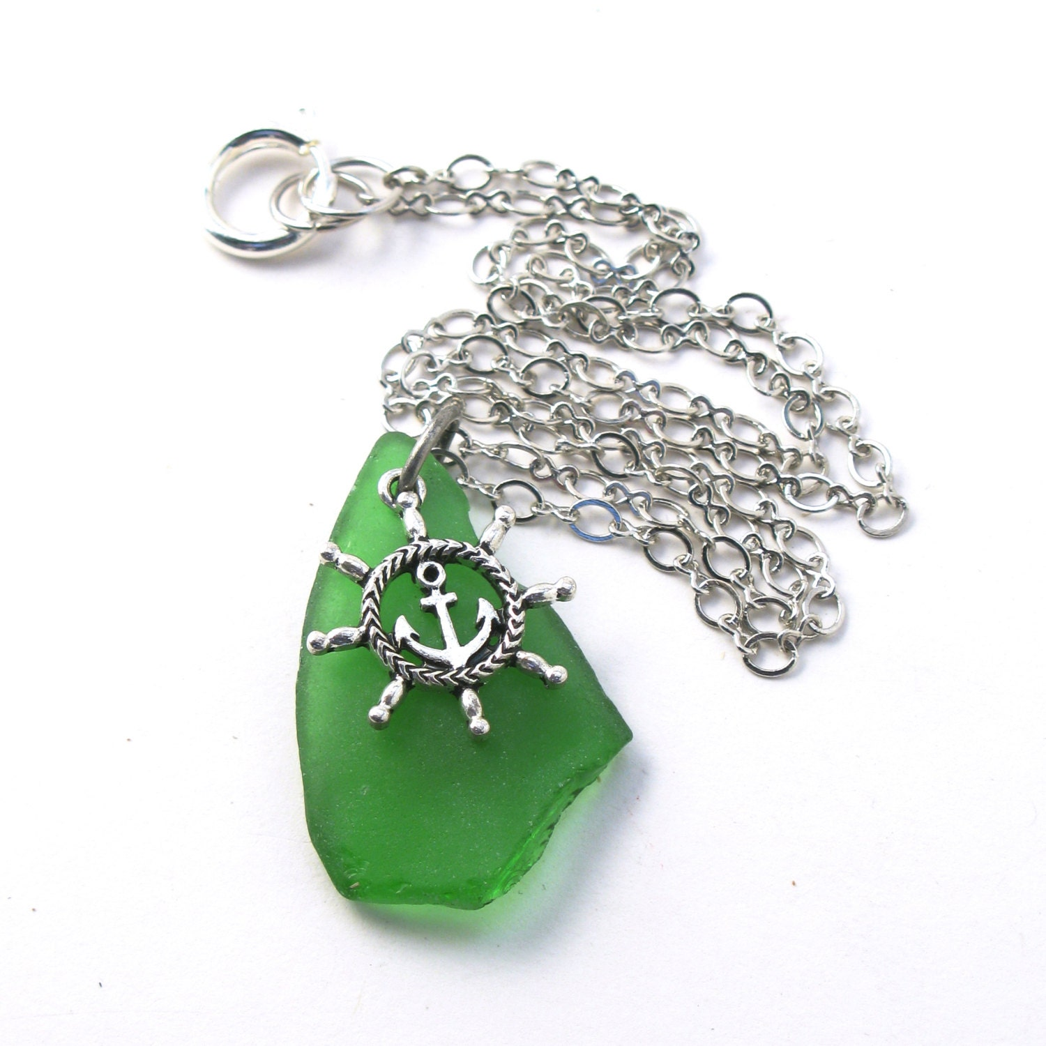 Kelly Green Sea Glass on a Silver Chain Necklace with an Anchor Charm