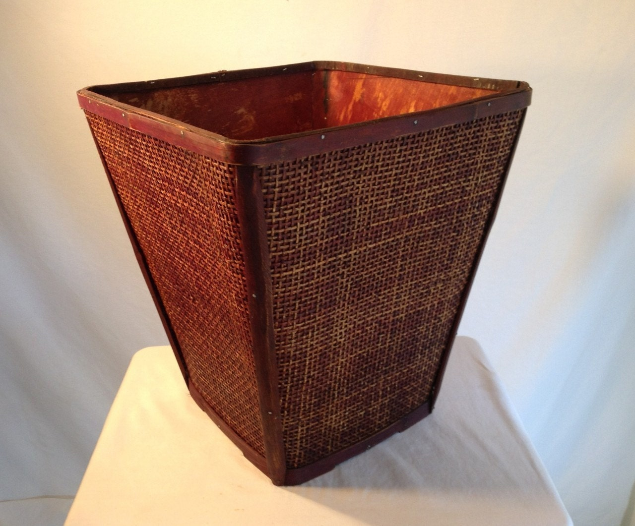 Free ship unused large mahogany wicker waste by crazygoodbananas - Wicker trash basket ...