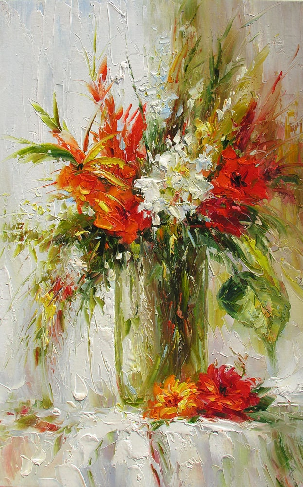 ORIGINAL Oil Painting A Brighter Day 23 x 36 Palette Knife Colorful Flowers Red White Textured Vase Bouquet Big  by Marchella - decorpro