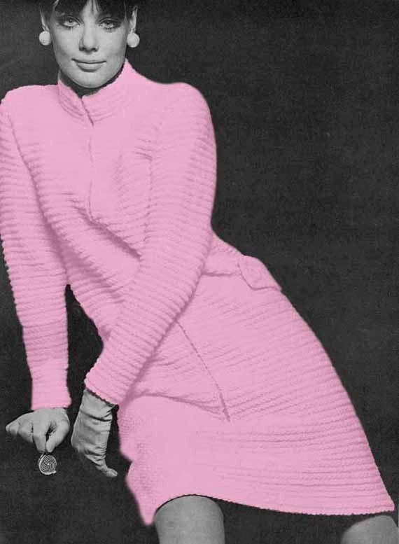 Vogue Vintage Knitting Patterns : Items similar to 1960s Vintage VOGUE KNITTING PATTERN Pdf- Zipped Dress/Coat,...