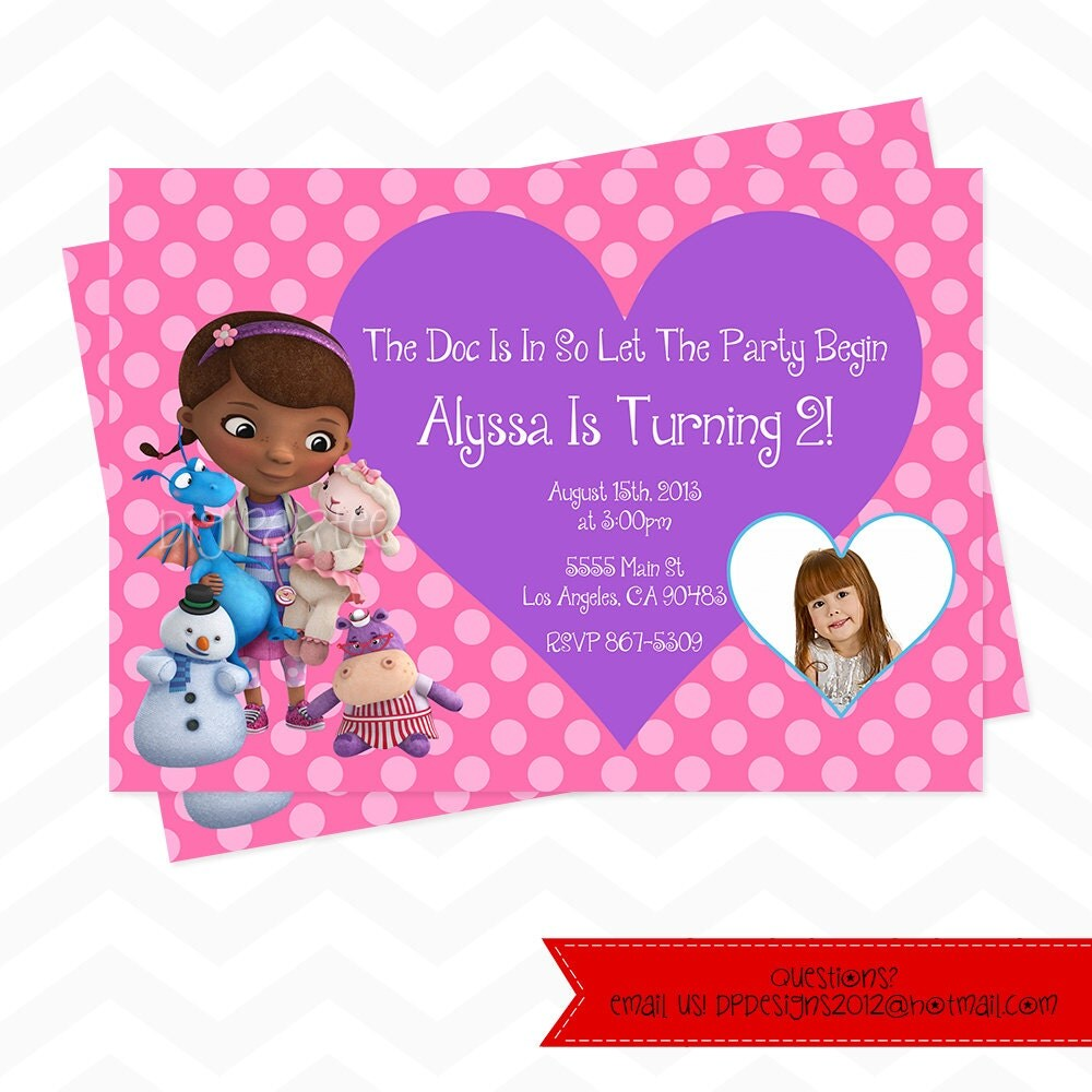 Doc McStuffins Invitation by dpdesigns2012 on Etsy