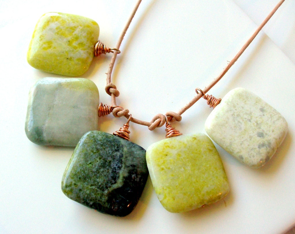 Autumn Jade & Leather Copper Necklace - Bohemian - Rustic - Green - Yellow - stoneandbone