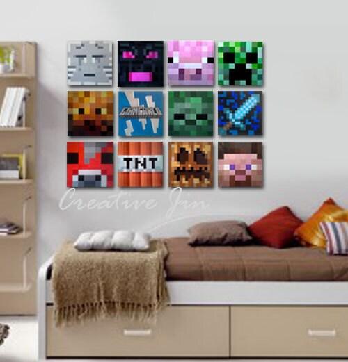 """Minecraft kid room, 8"""" x 8"""" flat canvas, kids room wall decor"""