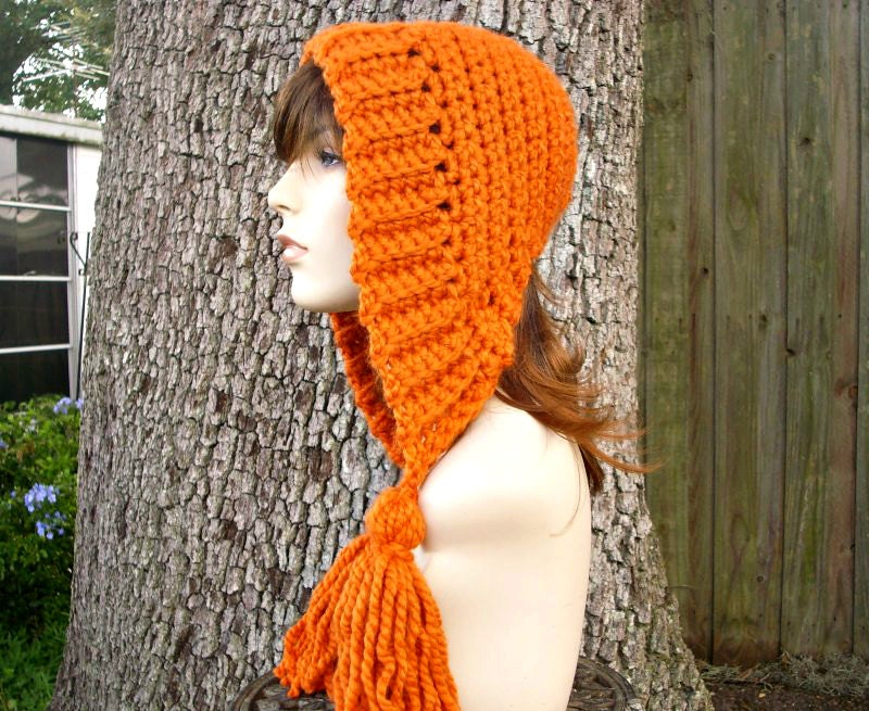 Hand Crocheted Hat Womens Hat Crochet Hood - Tassel Hat in Pumpkin Orange - Winter Fashion Winter Accessories
