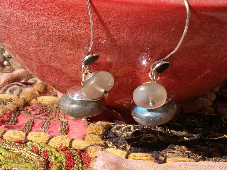 Labradorite and Quartz Sterling Silver Earrings