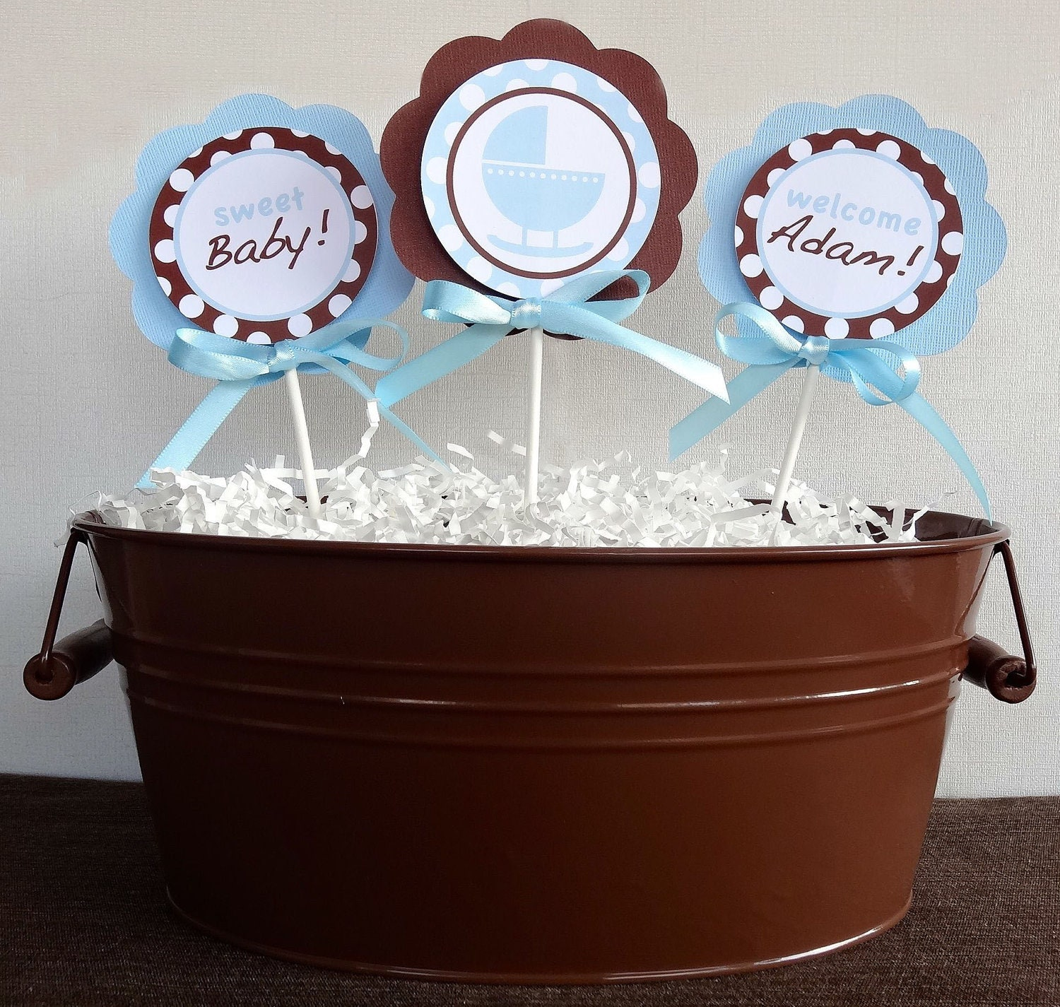Blue and Brown Centerpiece Sticks- Baby Shower Decorations