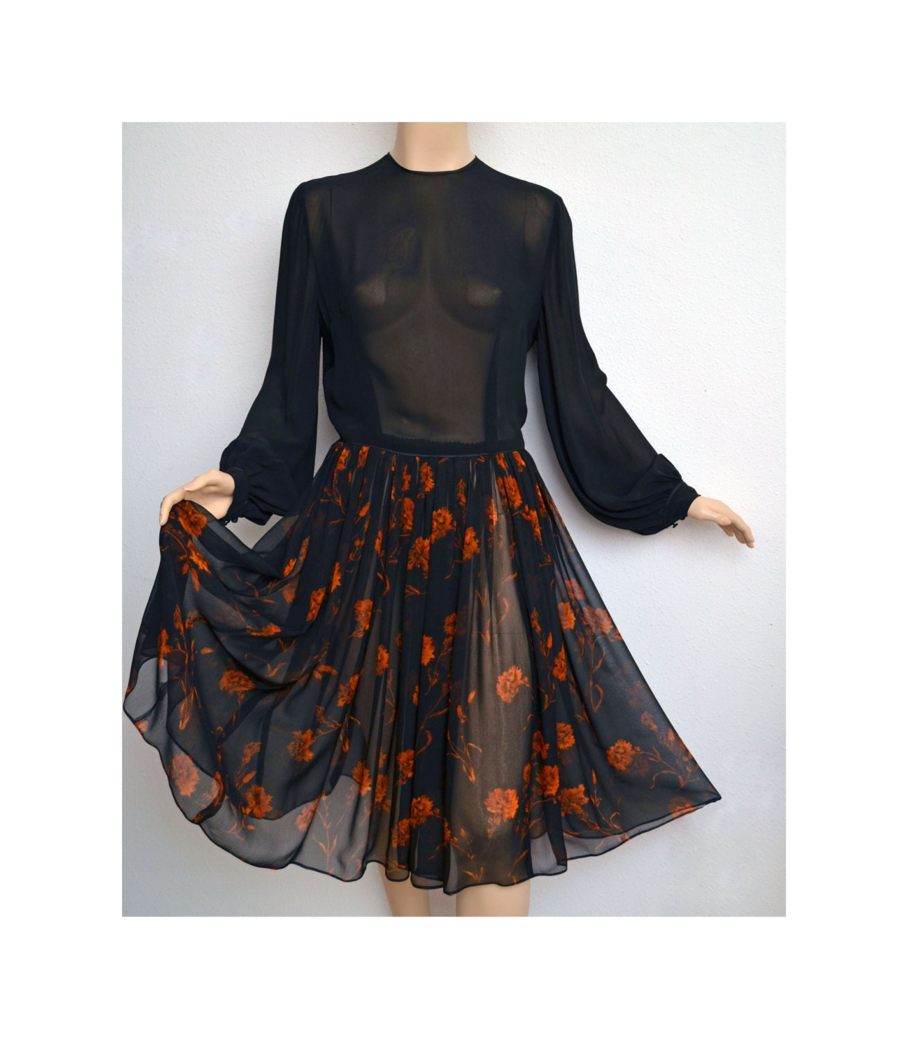 Vintage Chiffon Dress // Black and Orange Sheer Silk Chiffon Dress Bishop Sleeves Tiny Buttons Down Back - VintageDevotion