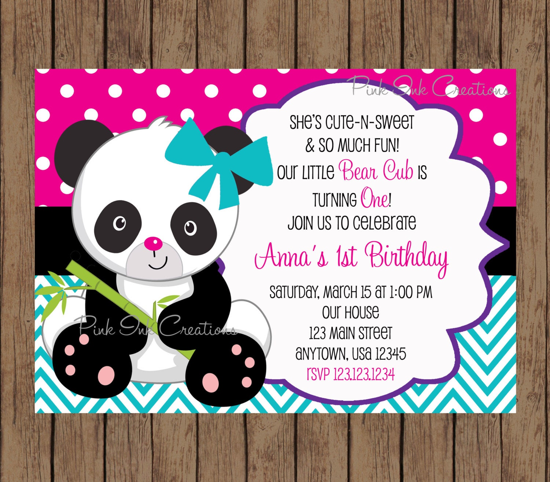 Panda Bear Birthday Invitation / Panda Invitation / Panda Baby Shower / Panda Birthday Party ...