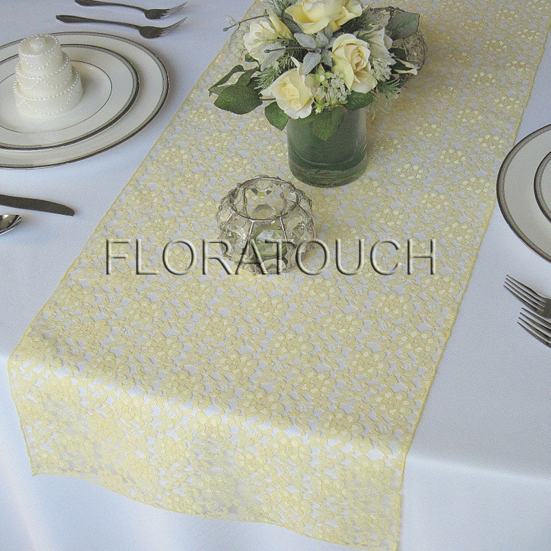 Etsy yellow floratouch runner wedding Runner Lace Table Light Yellow Wedding table  on by