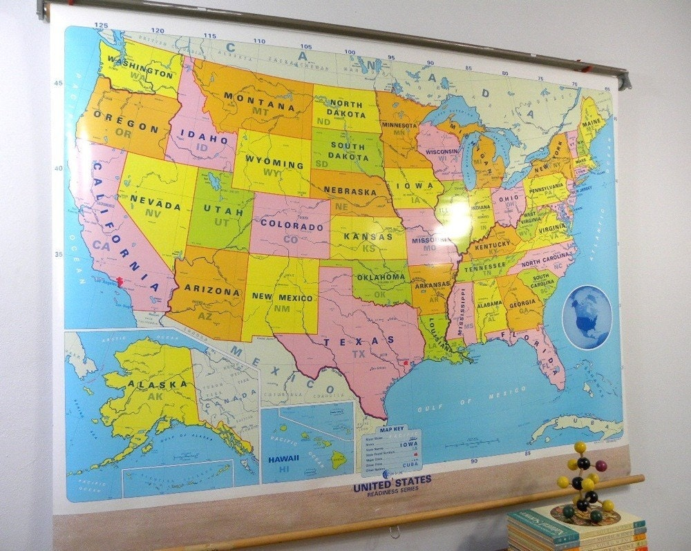 Colorful Us Map Classroom Pull Down Map