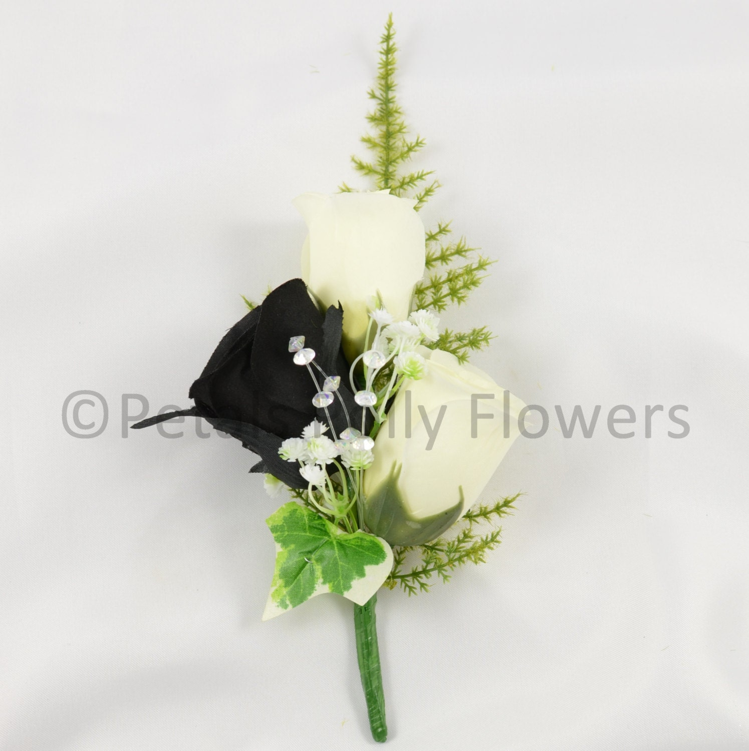 Image of Artificial Wedding Flowers, Black Ivory Triple Rose Gents Buttonhole / Ladies Corsage