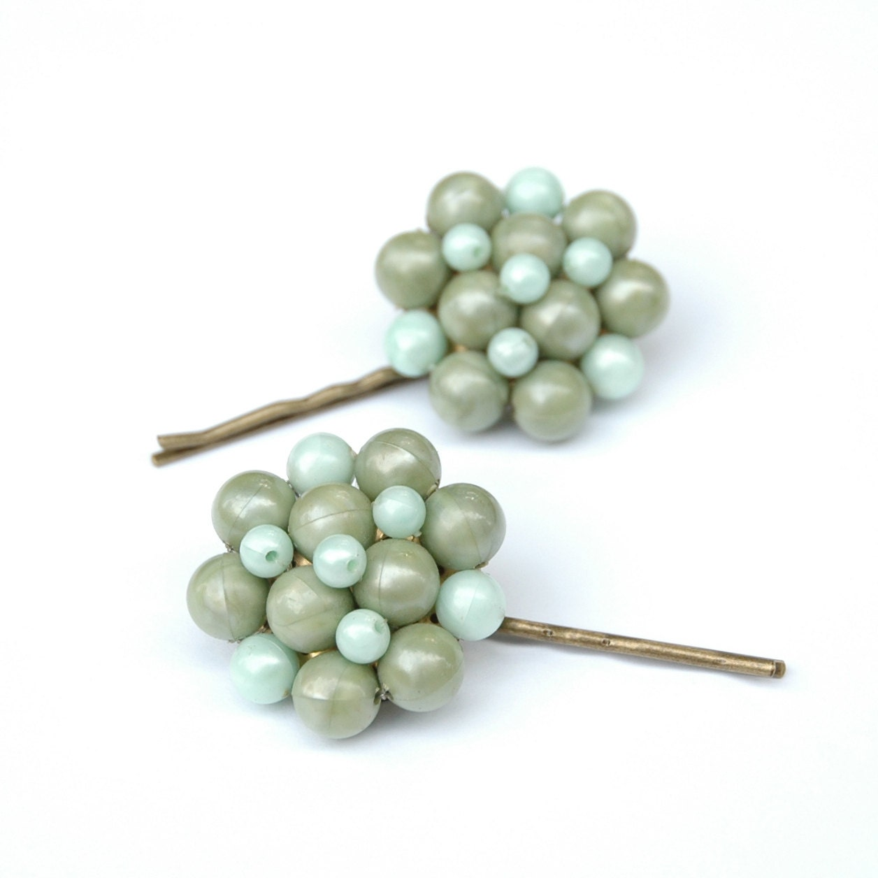 Upcycled Vintage Green Beaded Cluster Earring Hair Pins - SquishyBee