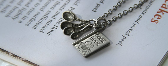 Bakery Cook Charm Necklace cookbook and measuring spoons