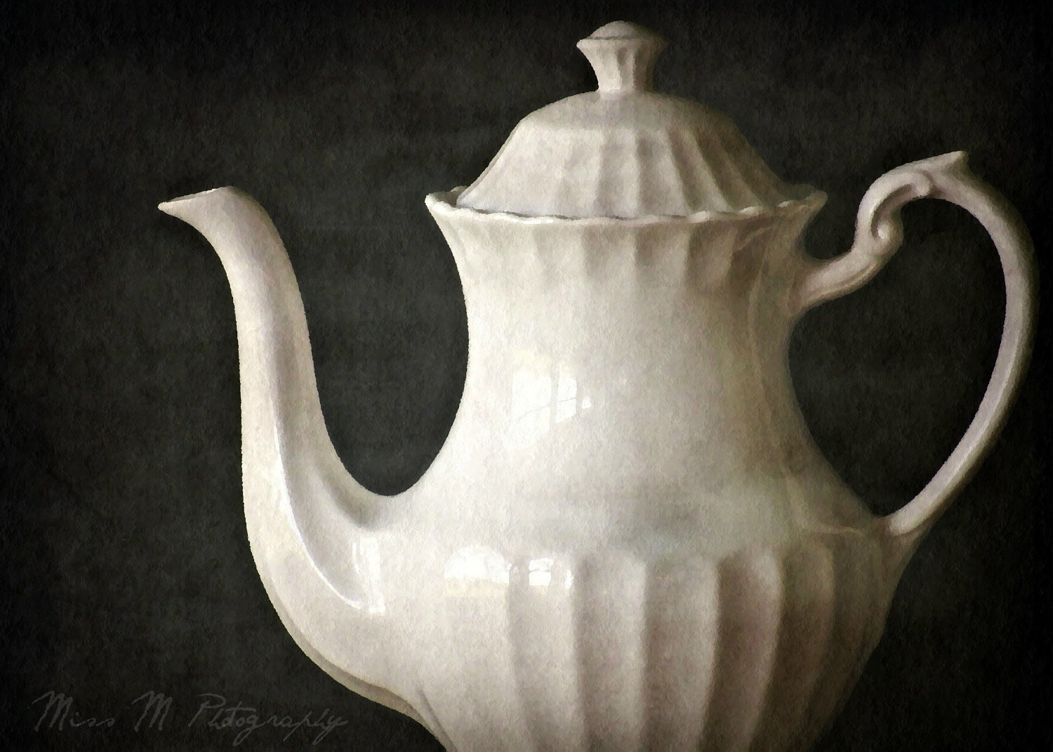 Cream, white, ivory, teapot, slate, gray, charcoal, kitchen, home decor, fine art photograph, 5x7 print, metallic finish - MissMPhotography