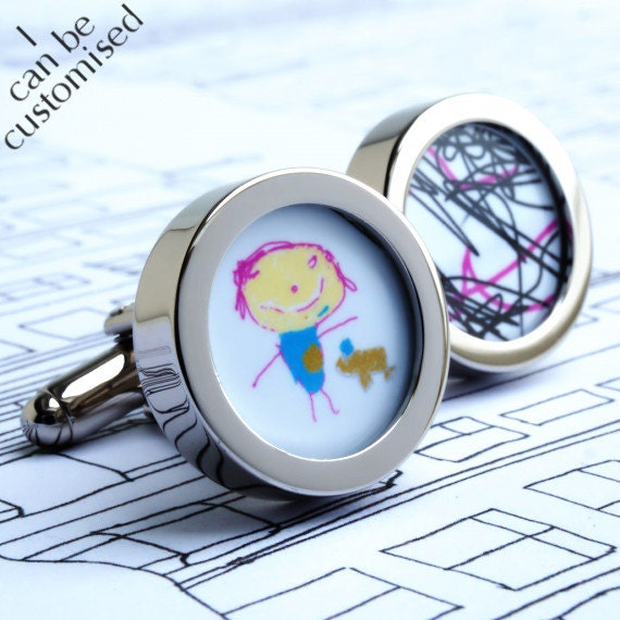 Custom Cufflinks of Your Childrens Drawings Paintings or Computer Art Work WITH EXPRESS SHIPPING