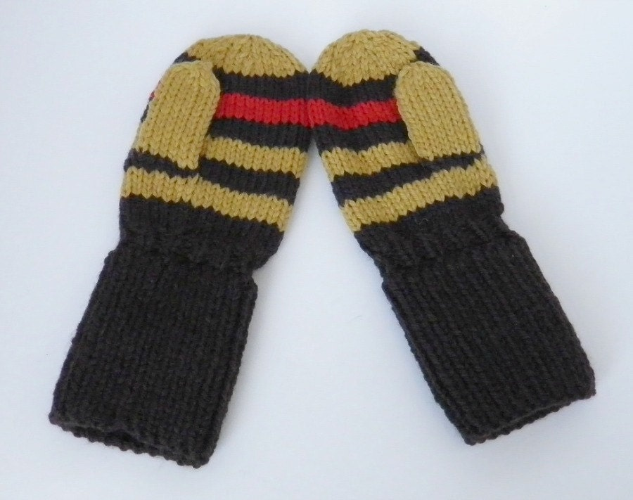 Baby Boy Mittens Brown, Mustard, and Red Stripe Size 12 to 18 months - BabywearbyBabs