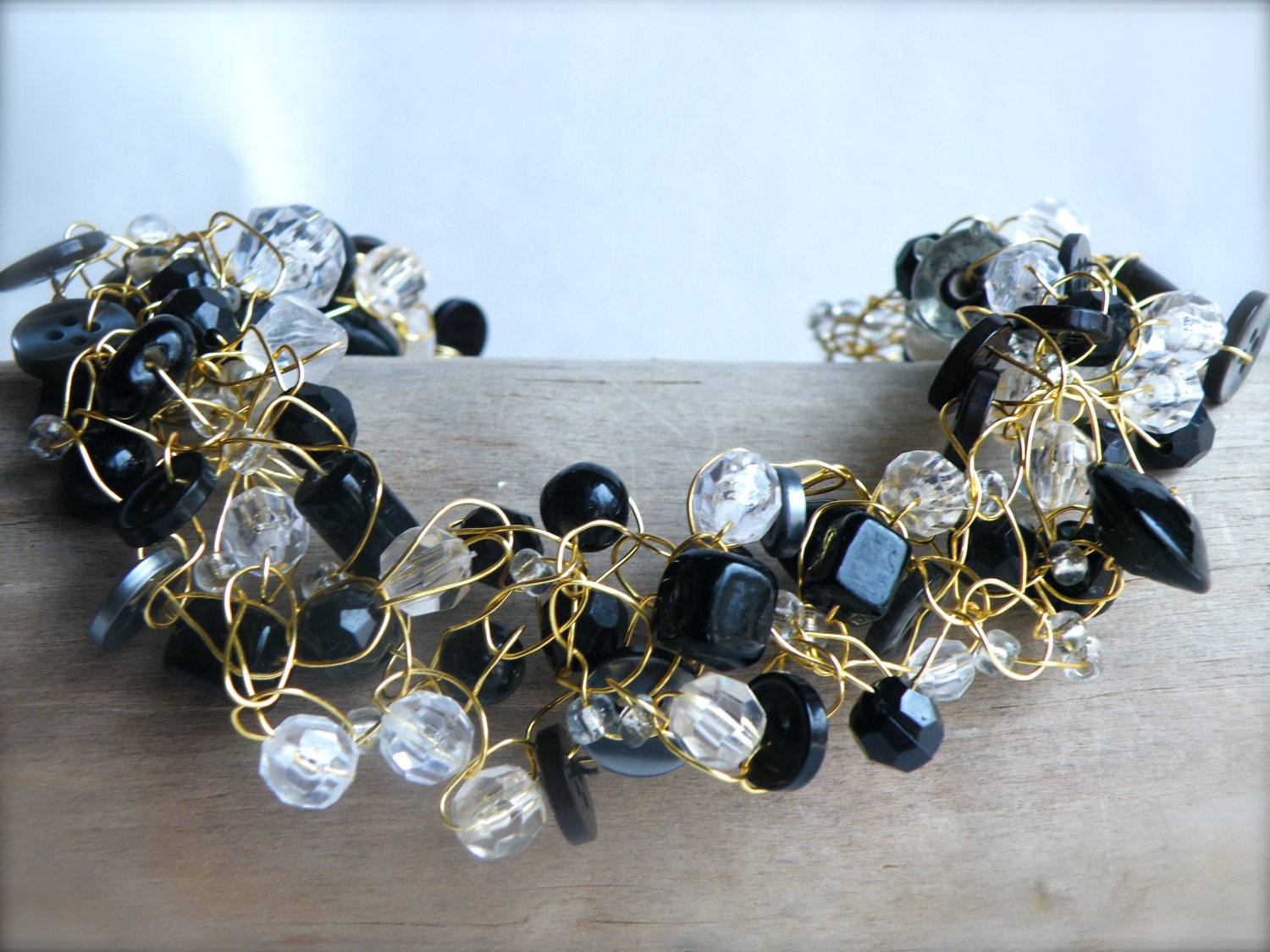 Black Button Crochet Wire Necklace... Crystal Droplets & Assorted Black Beads on Gold Wire (Free Shipping)