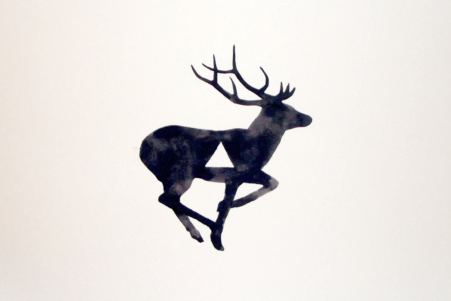 Watercolor - Original - Deer - Antler - Geometric - Black - White - Gray - GeometricInk
