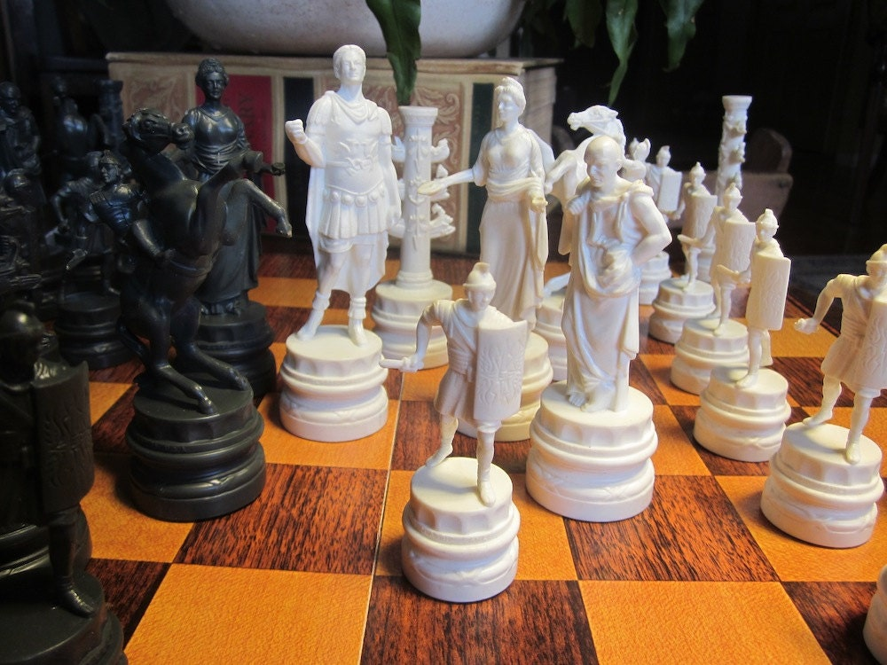 Chess Set Ancient Rome By Thevintagebelle On Etsy