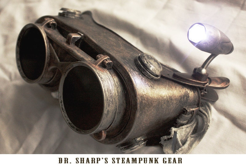 Rustic Steel Metallic Finish Steampunk Goggles by Dr. Sharp - DrSharpSteampunkGear