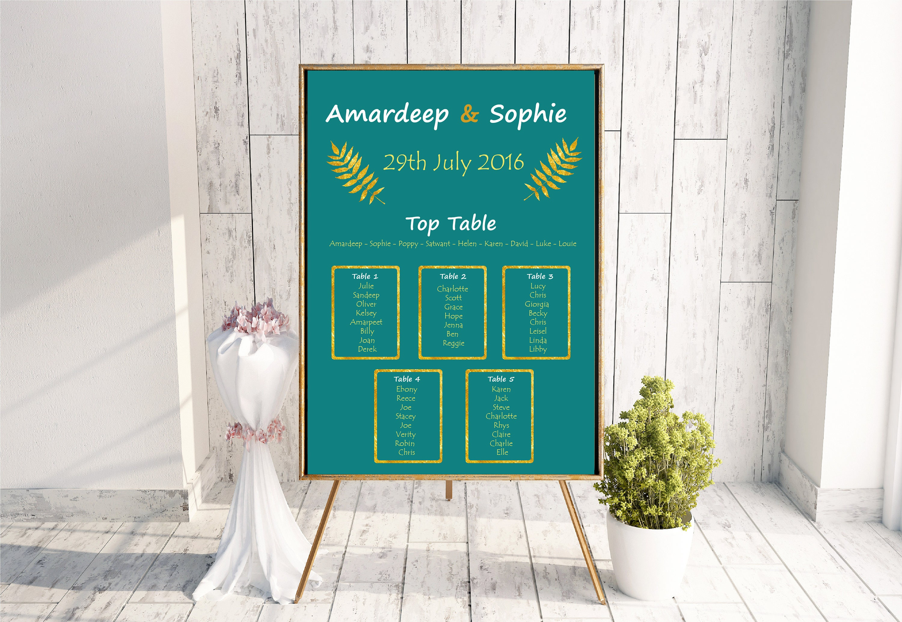 Botanical table plan wedding table plan wedding seating print printable table plan teal and gold table plan large table plan.