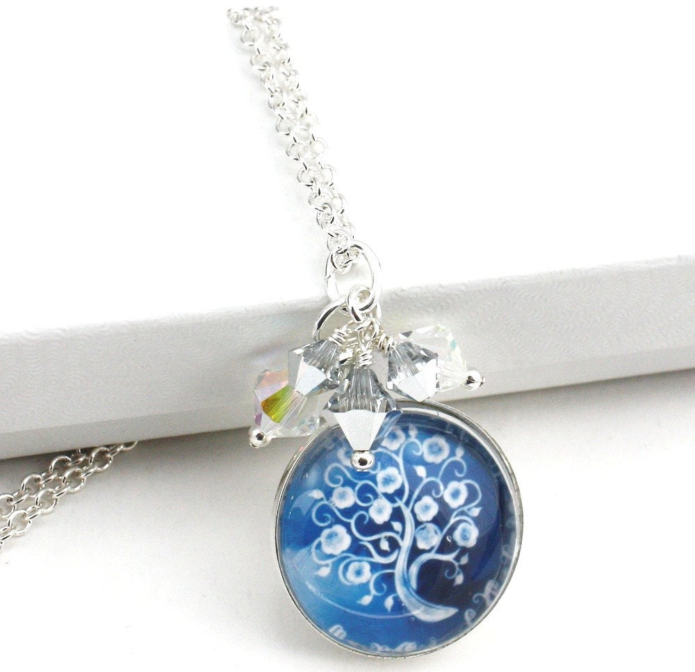 Blue Sky Round Glass Tile Dome Swarovski Crystal Cluster Tree of Life Pendant - anjalicreations