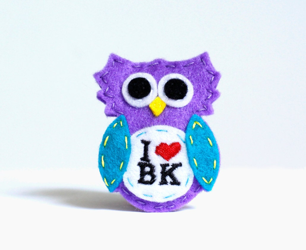 "handmade hair clip or pin Brooklyn Owl Purple ""Brook"" - BrooklynOwl"