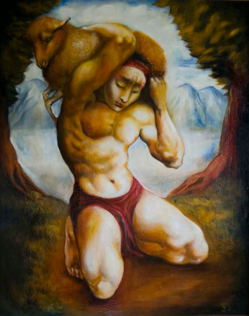 The Parable of the lost sheep- Original oil painting