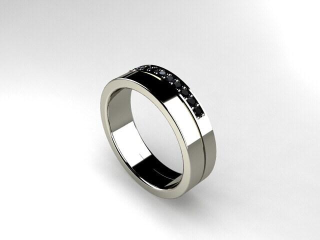 Black Diamond Ring Palladium Men Wedding Band By TorkkeliJewellery