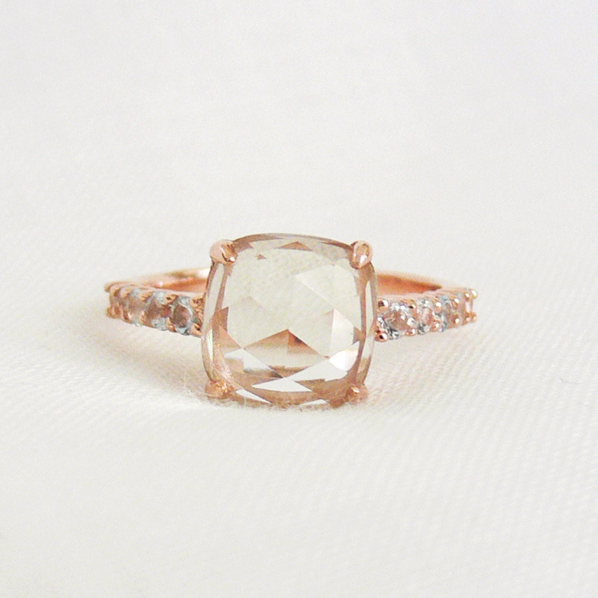 Green Amethyst Cushion Rose-cut 18K Rose Gold Vermeil Ring - ShowcaseJewelry