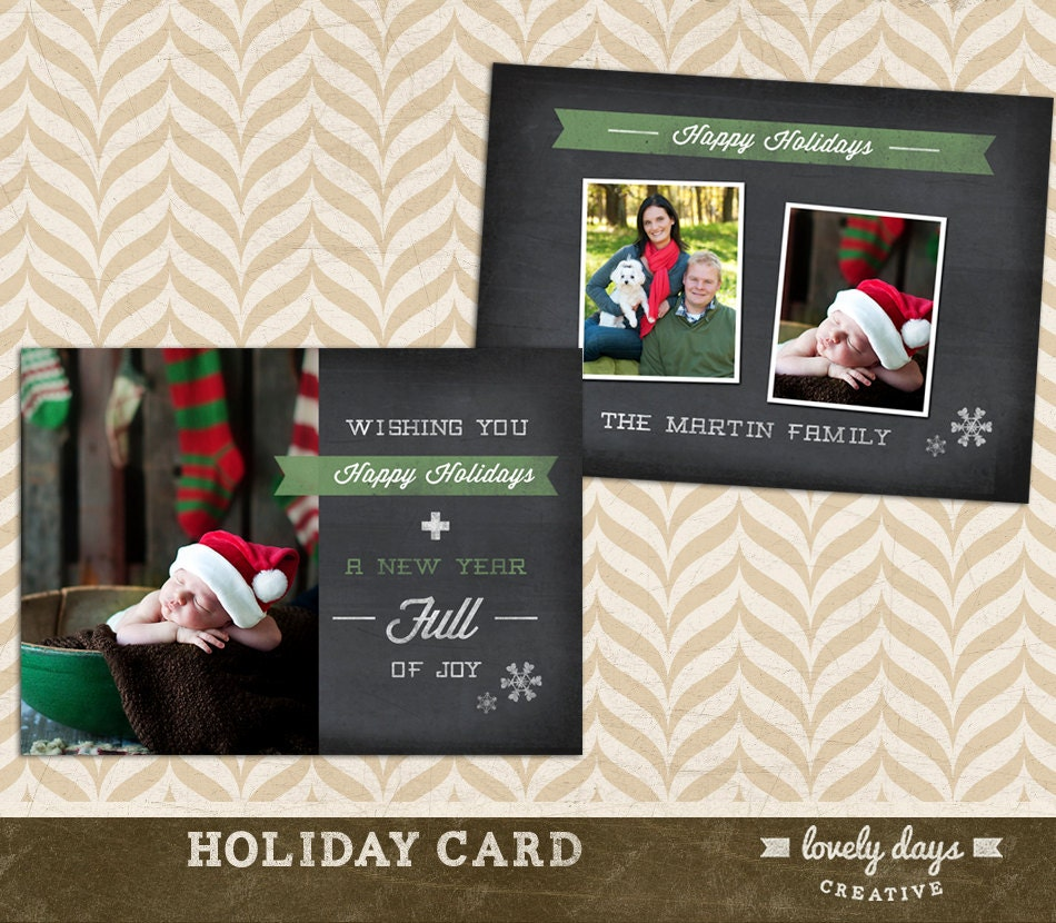Christmas Photo Card Template for Photographers in a Chalkboard ...