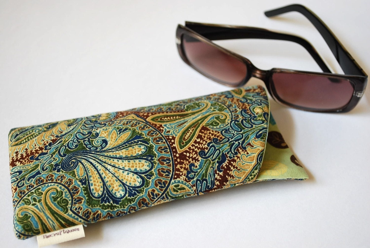 Eyeglass sunglass padded case in earthy paisley leaf cotton fabric
