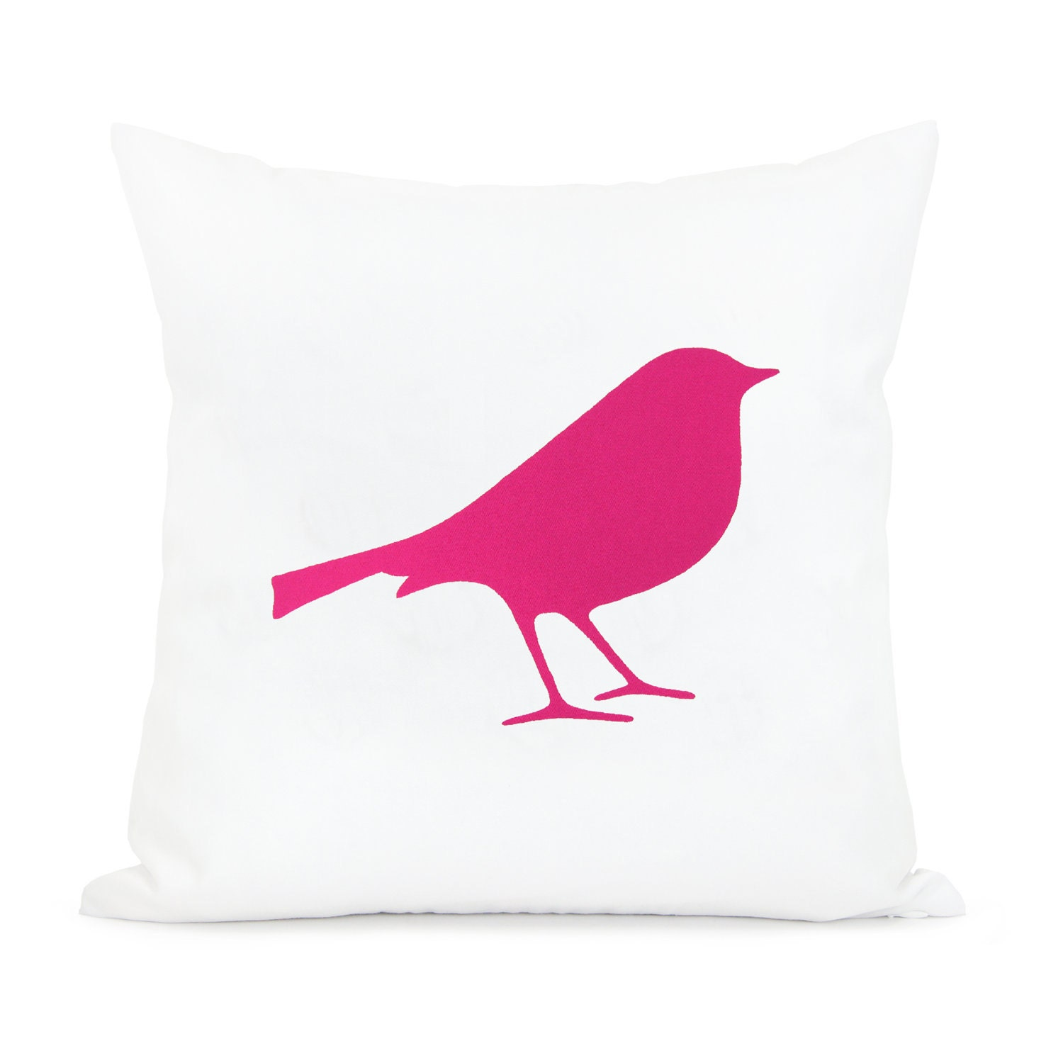 16x16 bird pillow cover - Pink and white pillow case - Romantic pillow - Decorative throw pillow cover - Shabby chic home decor - ClassicByNature