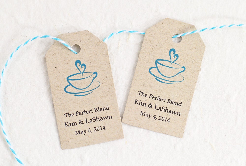 Wedding Tags, Coffee Tags, Personalized Gift Tags, Bridal Shower Favor ...