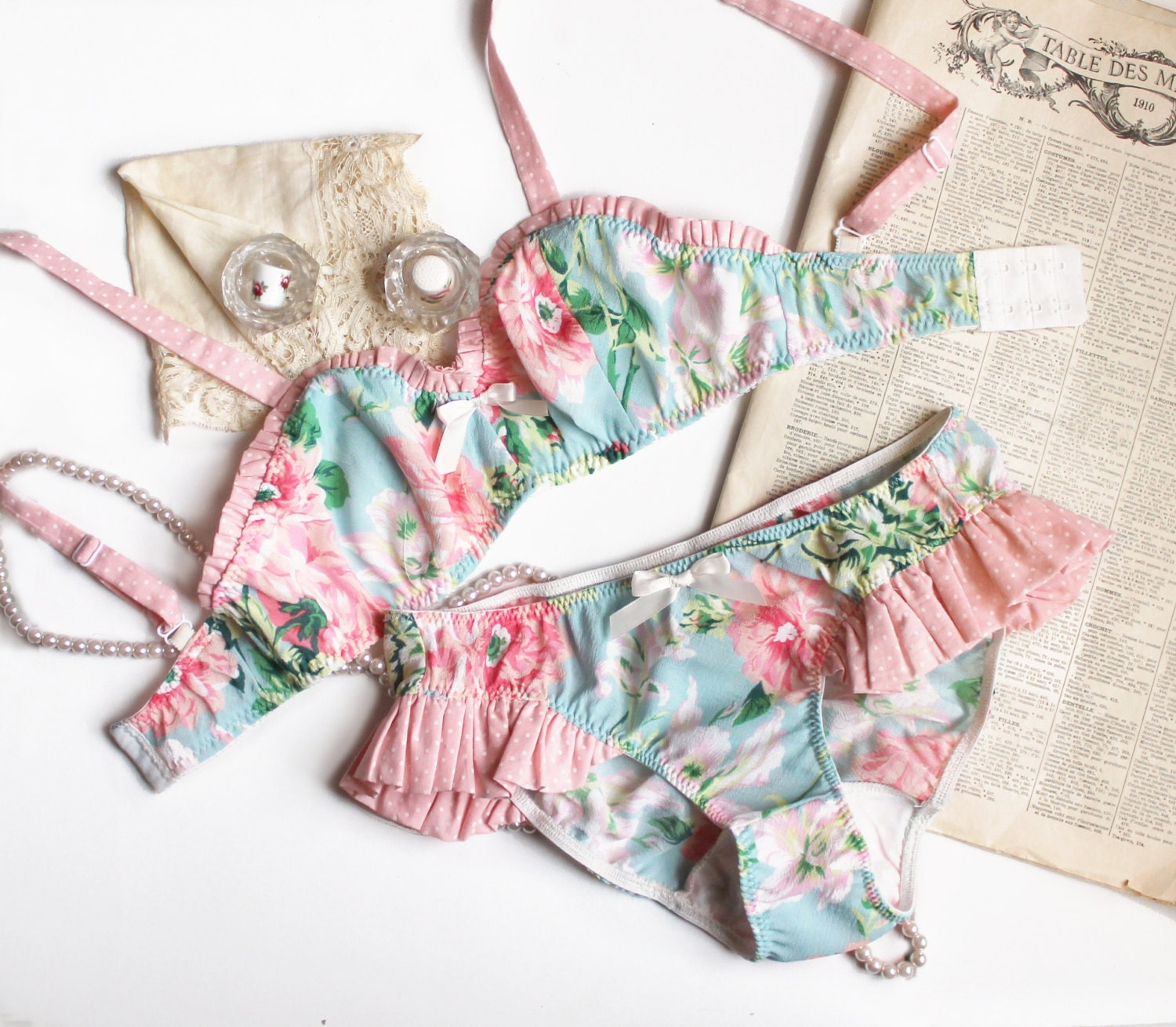Bra and Panties Set 'Flora' in Mint and Pink Floral with Polka Dot Ruffle Detail Made to Order by Ohhh Lulu