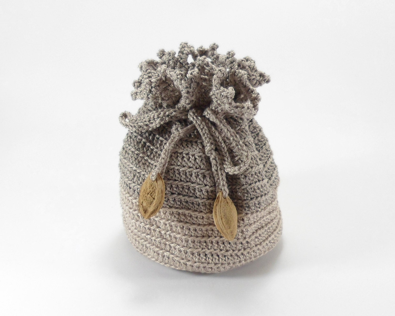 Crochet Drawstring Bag : ... Bag with Drawstring, Crochet Pouch, Gray Beige Christmas Gift Bag