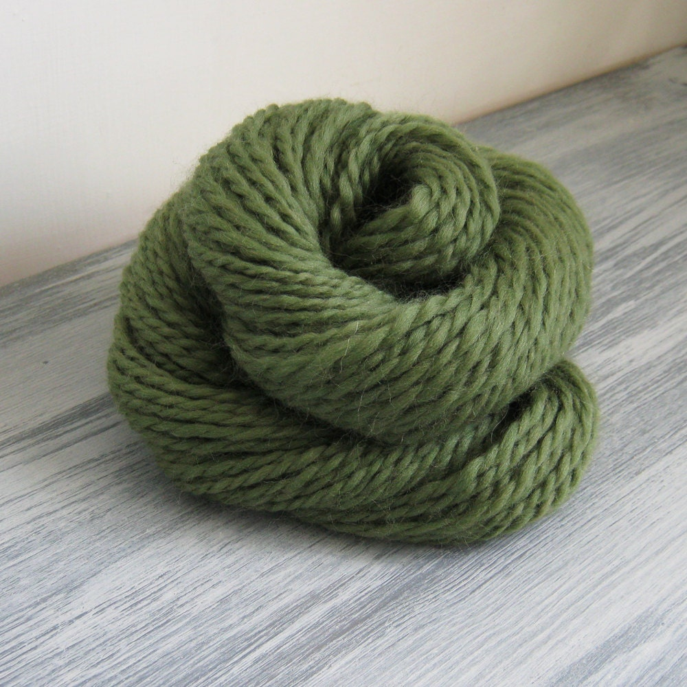 Knitting With Handspun Yarn : Handspun yarn double knit wool in light olive by justadaydream