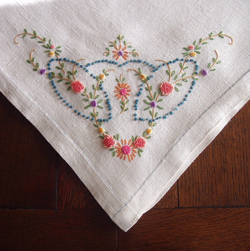 Vintage linen tablecloth hand embroidered by