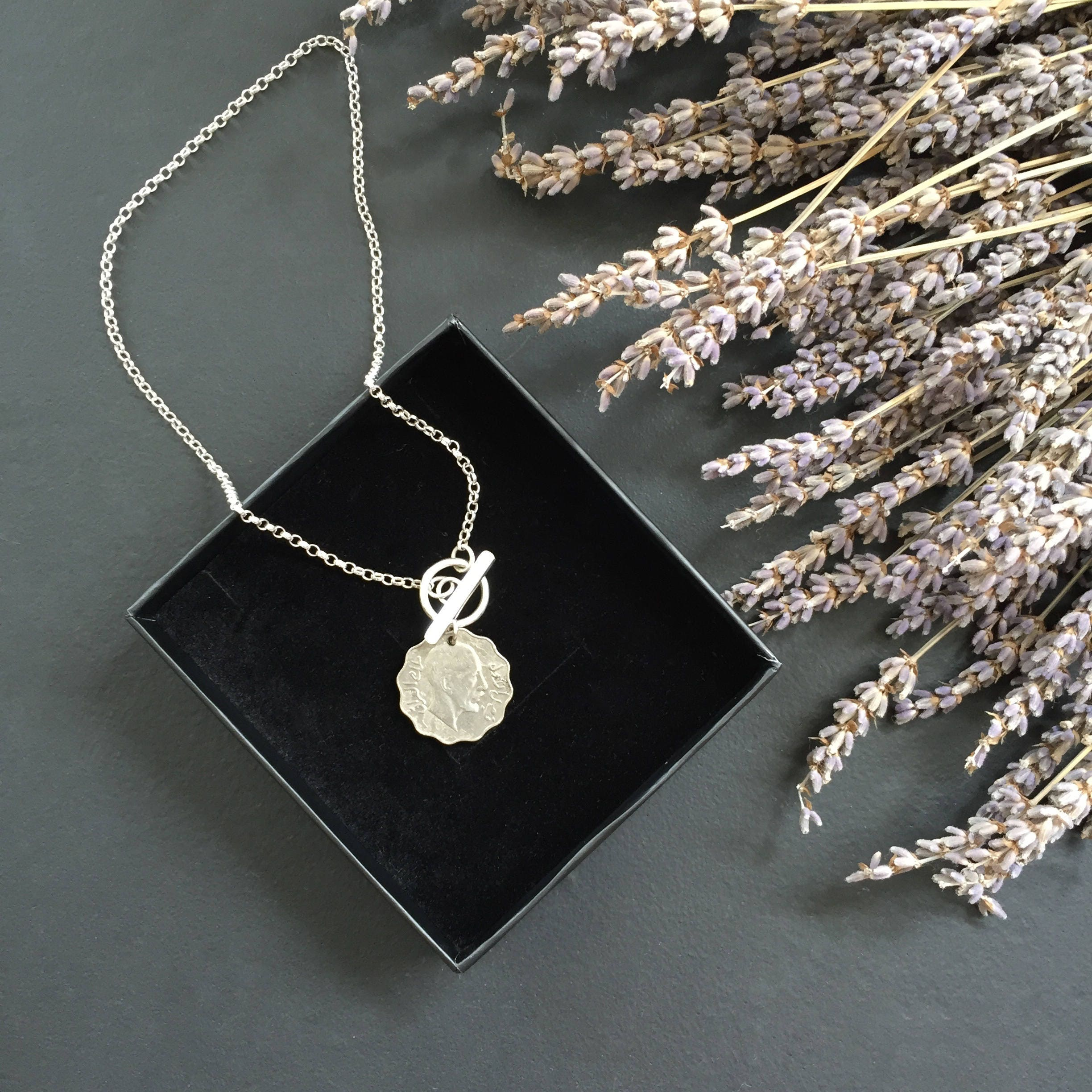 Hand made sterling silver antique coin Tbar O ring chain necklace
